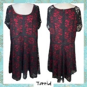 Torrid Black Lace w/Red Lining Sassy Dress Size 20